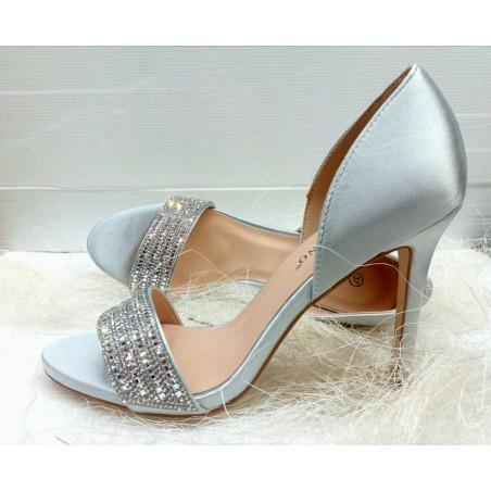 sandali eleganti donna tacco medio alto colore argento