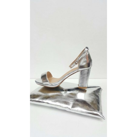 Sandali con tacco 70 largo in rame e argento
