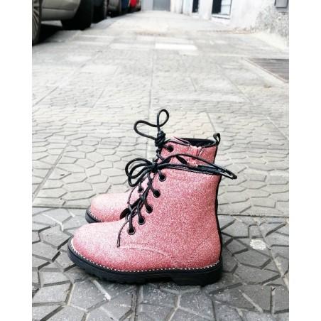 Anfibi stivaletti bimba glitterati rosa e neri